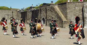 Pipers and drummers at Halifax Citadel     August 2004