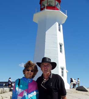 Joy and Ray at Peggy's Cove Lighthouse     August 2004