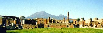 A view of the Forum with Vesuvius in the background.